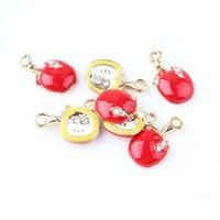 20 Unids/lote Esmalte Encantos de La Joyería Rhinestons Cristal Pavimentado Moda 2 Caras Fruta Manzana Colgante Encantos Aptos para la Pulsera Del Collar