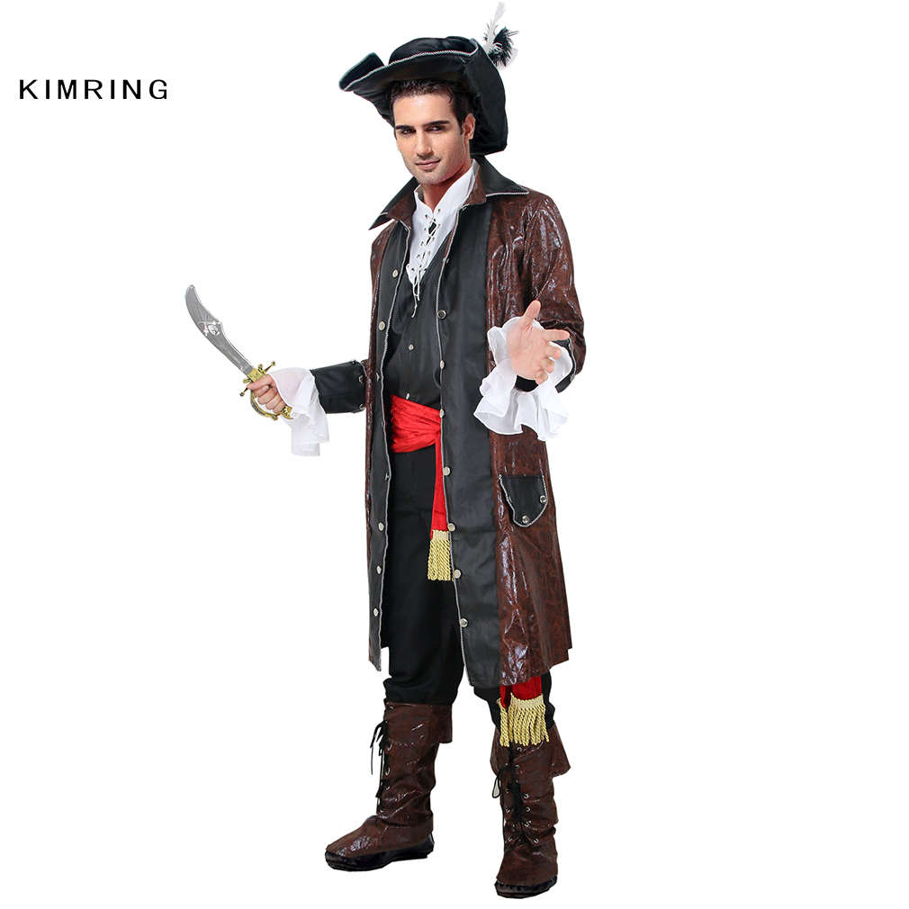 aliexpresscom buy kimring caribbean pirate halloween costume adult man grand heritage collection deluxe jack sparrow costume carnival cosplay from - Jack Sparrow Halloween Costumes