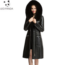 Winter Real Natural Shearli Sheepskin Leather Coat Women Black Genuine Fox Fur Collar Russian Suede Coats Plus Size 5XL 6XL(China)
