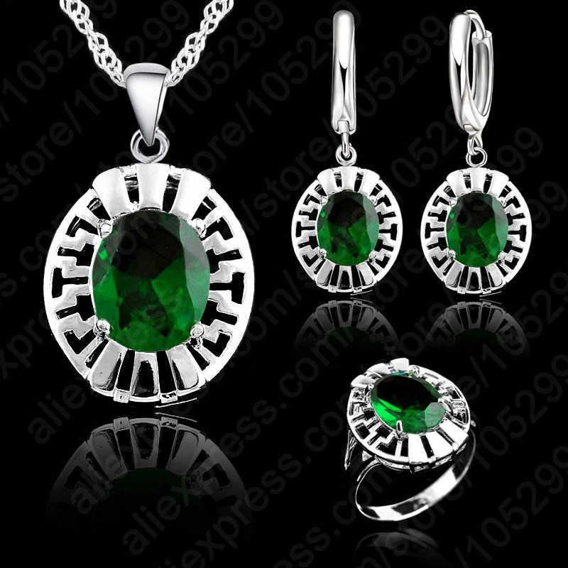 Alta qualidade azul cz cristal colar de casamento & brinco & anel 3 conjunto real 925 prata esterlina pingente jewlery conjunto presente atacado