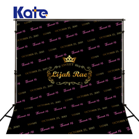 Kate Black Happy Birthday 16st Crown Studio Backgrounds Backdrops Princess Custom Cotton Washable Photo Shoot Background