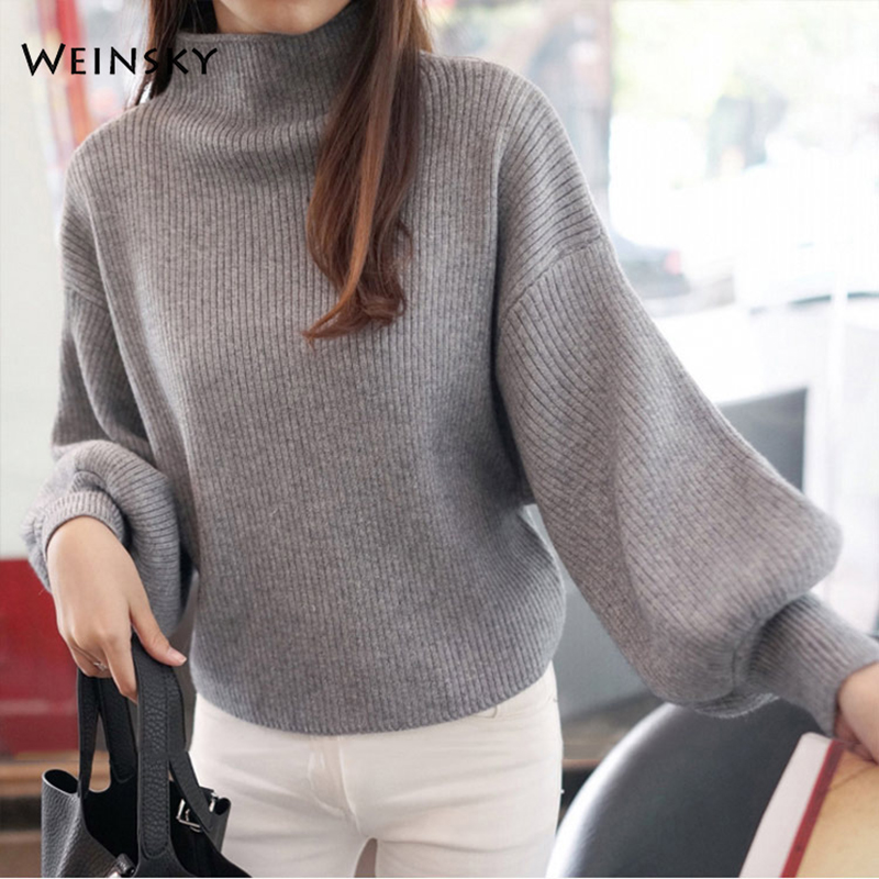 Weinsky Women Knitted Sweaters And Pullovers Ladies Autumn And Winter 2018 Fashion Korean Casual Style Pink And Black Sweaters