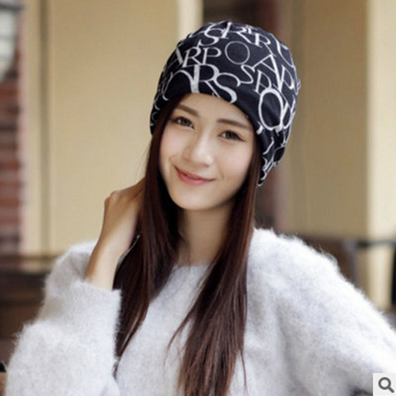 Women's Winter Warm Hat   Beanie   Female Fashion Letter Flag Printing   Skullies   Casual Outdoor Mask Ski Caps Empty Top Collar