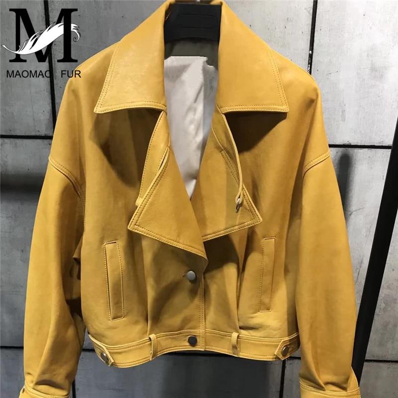 Ladies Genuine Leather Jacket Women Autumn Fashion Brand Style Female Outerwear Motorcycle Jacket Real Sheepskin Leather