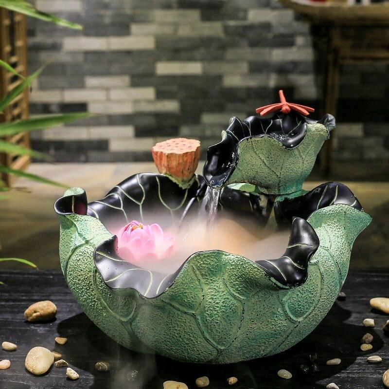 creativo acuario feng shui lucky redonda fuente de agua waterscape adornos de escritorio de oficina