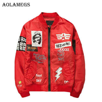 Aolamegs Jacket Men Print Plus Size Stand Collar Bomber Jacket Fashion Casual Outwear Men's Coat Bomb Baseball Jackets Brand New - DISCOUNT ITEM  43% OFF All Category