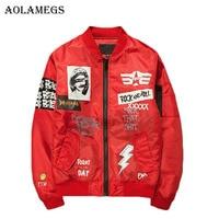 Aolamegs Winter Jacket Men Print Plus Size Stand Collar Bomber Jacket Fashion Outwear Men S Coat