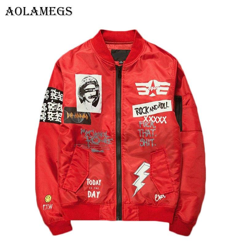 Aolamegs ชายเสื้อพิมพ์ Plus ขนาดคอเสื้อแจ็คเก็ตเครื่องบินทิ้งระเบิด Casual Outwear เสื้อผู้ชายระเบิดเบสบอลแจ็คเก็ตใหม่-ใน แจ็กเก็ต จาก เสื้อผ้าผู้ชาย บน AliExpress - 11.11_สิบเอ็ด สิบเอ็ดวันคนโสด 1