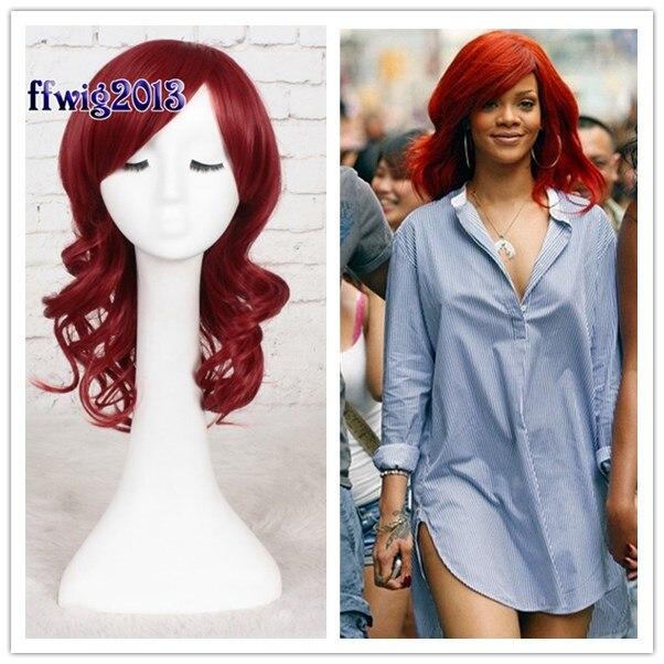 Halloween Role Play Women Rihanna red wavy hair wig Singer Rihanna role play hair wig costumes