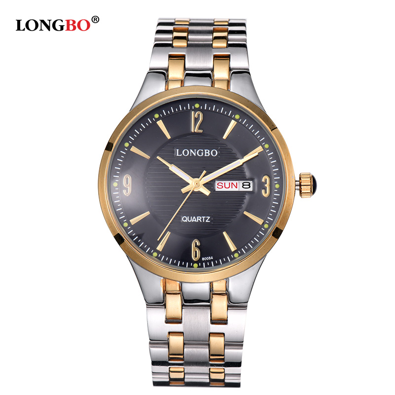 LONGBO Couple Watch Luxury Quartz Watch Top Brand Full Steel Waterproof Men Sports Watch Women fashion relogio feminino 80084