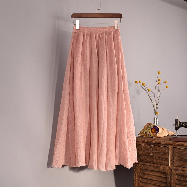 8d6abd53f7d08 US $15.75 50% OFF|Sherhure 2018 Women Linen Cotton Long Skirts Elastic  Waist Pleated Maxi Skirts Beach Boho Vintage Summer Skirts Faldas Saia-in  ...