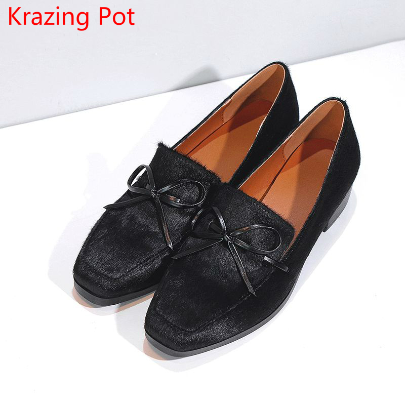 2018 Superstar Horsehair Bowtie Slip on Thick Heel Women Pumps Square Toe Elegant Office Lady Preppy Style Black Causal Shoe L01