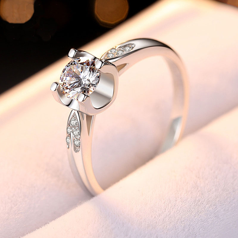 Engagement CZ Stone Hearts and Arrows Cut Brilliant Round Ring Fiancee Solid 925 Sterling Silver Proposal Ring Gift for Lover in Wedding Bands from Jewelry Accessories