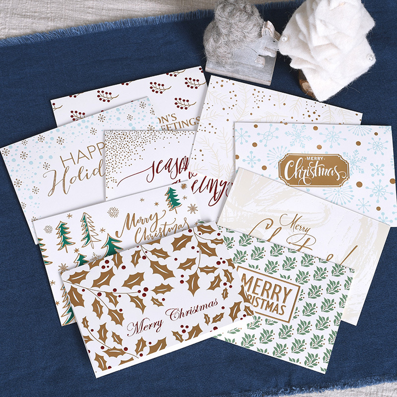 9pcs/lot Gilding Merry Christmas letter postcard greeting card birthday New Year message card gift cards business card escolar 1box lot christmas gift christmas season organ folding christmas cards paper crafts scrapbooking cards gifts decoraiton