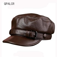 QPALCR Women Men Military Hats Cap Unisex Genuine Leather Baseball Caps Winter Flat Cap Adult Middle aged Dad Hats Flat Army Hat