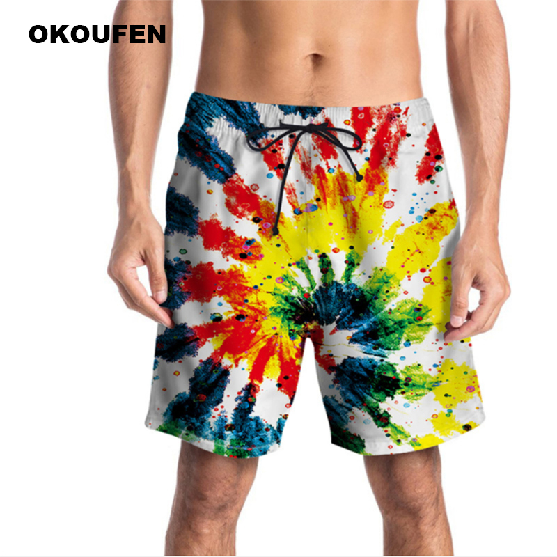 Summer New Men's   Board     Shorts   Trunks Beach   Board     Shorts   Funny Graffiti Print Pants Swimsuits Quick Dry Mens Bermuda Brand   Shorts