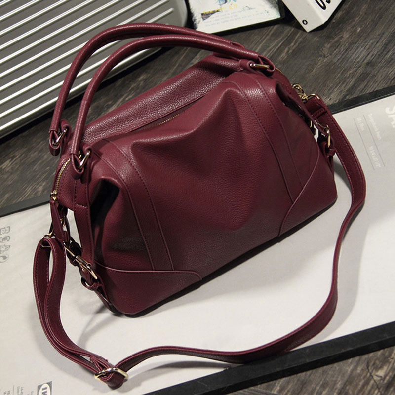 Women Casual Leather Bag  Soft Leather Handbags Big Zipper Ladies Shoulder Bag G