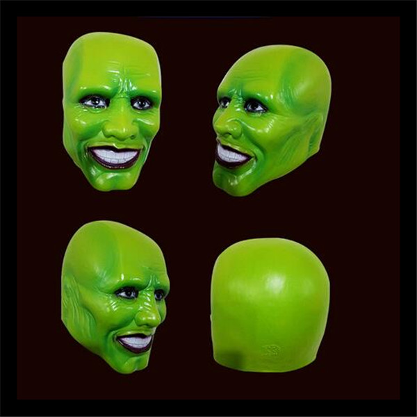 Free shipping New Halloween Party Cosplay Latex Classic Movie Adult The Mask Jim Carrey Mask Cosplay Helmet Green Movies Mask image