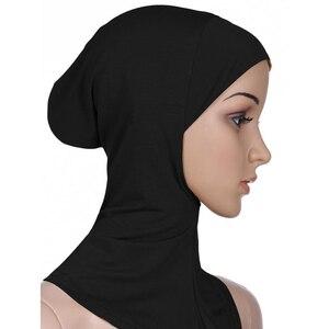 Image 1 - 新着 7 色イスラム教徒のスタイルフルカバーインナー綿ヒジャーブキャップイスラムターバンヘッド磨耗帽子 Underscarf ヒジャーブ