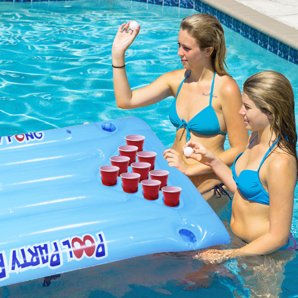 24 Cup Holder Inflatable Beer Pong Table Pool Float Summer Water Party Fun Air Mattress Ice Bucket Cooler Float Water Sports
