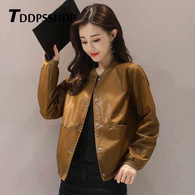 Short 2019 Spring New Loose Pu Leather Jacket Black Red Caramel Brown Color Female Coat