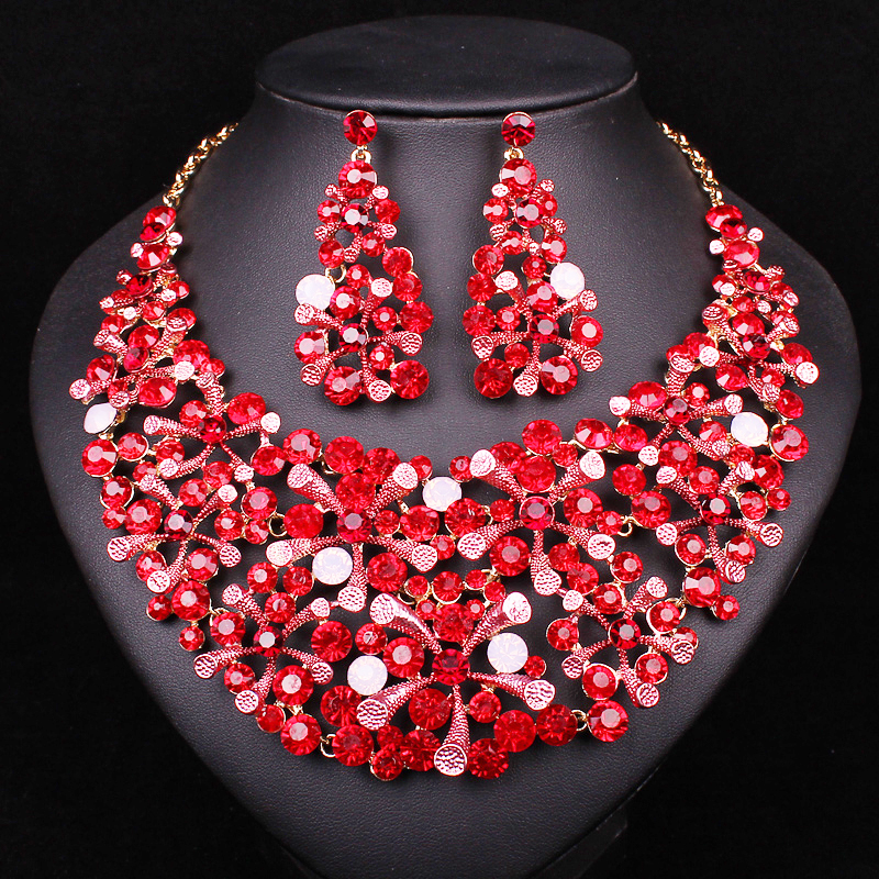 Fashion Leaf Red Crystal Rhinestone Necklace Earrings set Jewelry Sets For Bride Party Wedding