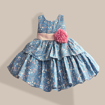 100% Cotton Girl Dress Flower Print 2 Color Layered Princess Dresses for Party Wedding Girls Summer Dress 1-6T
