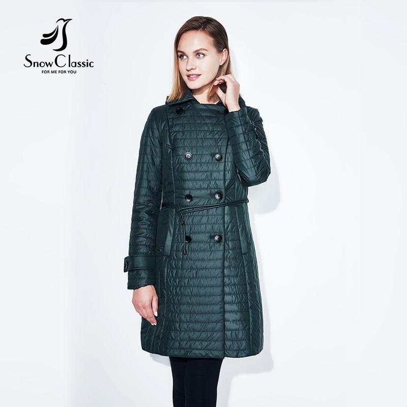 SnowClassic Printemps Style Femmes de Veste Mince Coton Chaud et Respirant Mode Bouton Ceintures Costume Revers Tranchée Manteau Coton Porter