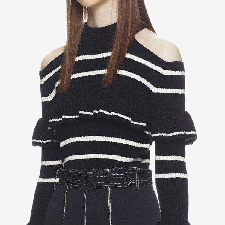 Autoportrait élégant Slim tricoté rayé chandail Blouse femmes 2018 automne hiver chaud hors épaule pull femmes - 4