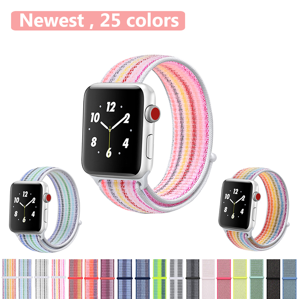 Sport Loop Nylon Band for Apple Watch 40mm 44mm 38 42mm Bracelet Belt Strap Nylon Woven Wrist bands for iWatch Series 4/3/2/1