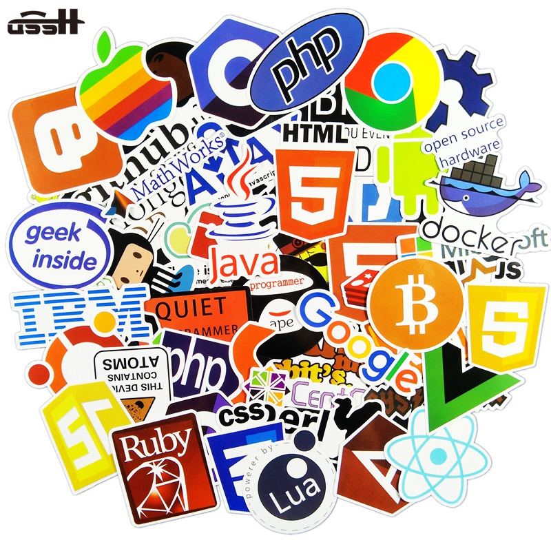 50 Pcs Internet Java JS Php Html Cloud Docker Bitcoin Programming Language APP Logo Cool Stickers for Laptop Car DIY Stickers yakov fain java programming 24 hour trainer