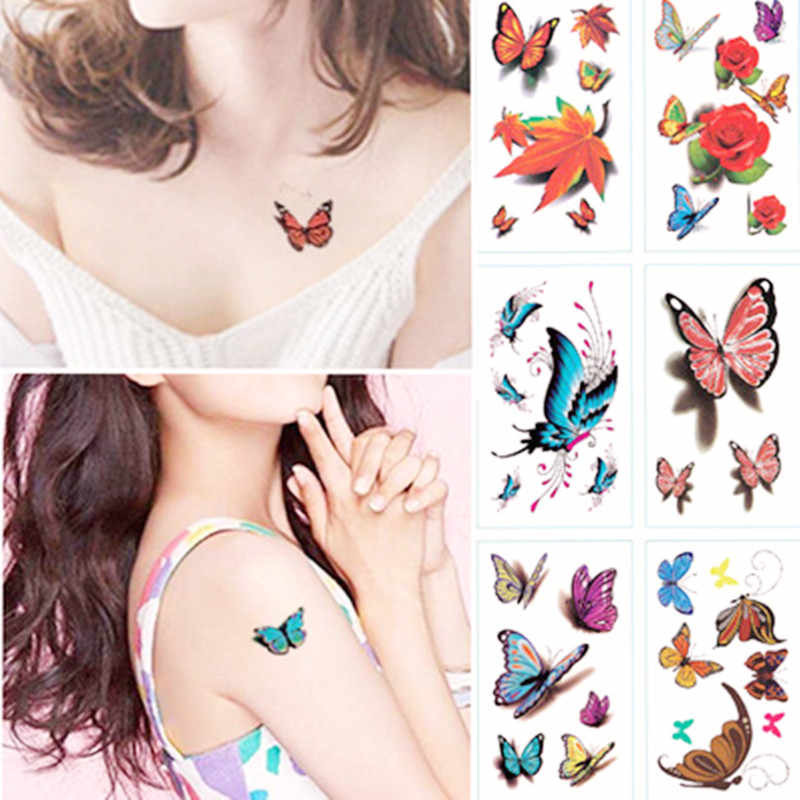 Hot Watercolor 3D Butterfly Temporary Tattoo Sticker Waterproof Women Fake Tattoos Men Children Body Art Hot Design 9.8X6cm