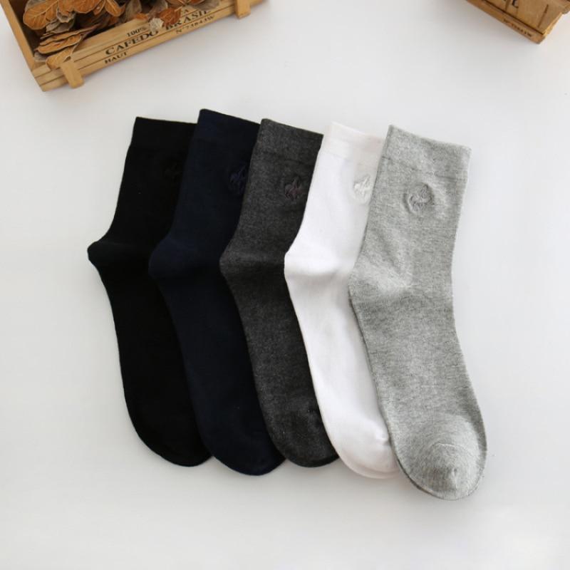 5 Pairs/lot High Quality Fashion Brand Business Socks Men Cotton Socks Meia Mens Socks Embroidery Bamboo Fibe Long Socks