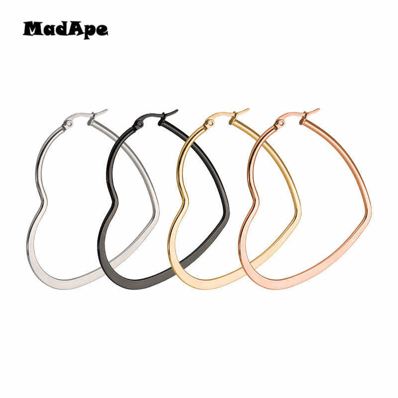 MadApe Women Heart Shaped Large Hoop Earrings Rose Gold Color Stainless Steel Round Circle Hyperbole Earrings Nightclub Jewelry