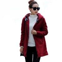 2016 Plus La Taille 4XL Femmes Vin Rouge D'hiver Vestes Coton rembourré Femelle Chaud Long Cachemire Manteau D'hiver Vestes Top Qualité A922
