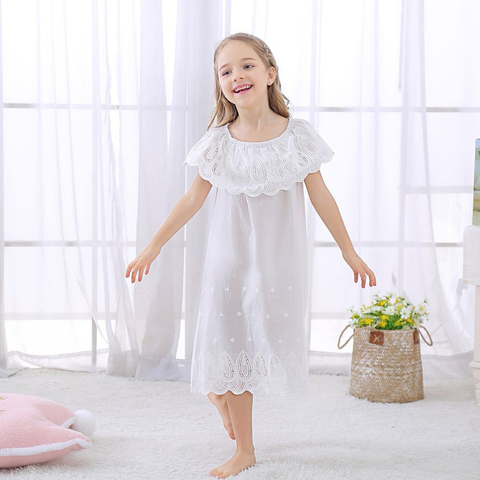 branco pijamas meninas vestido