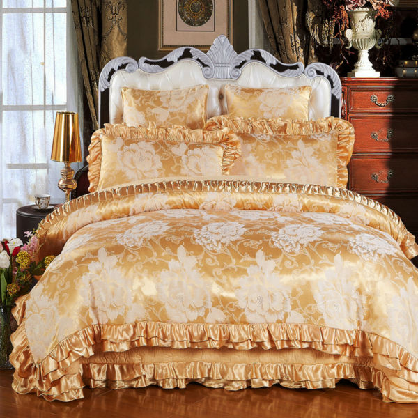 hot sale cotton satin bedding set queen king size 4pc or 6pcs bed set duvet cover quilted