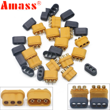 20 x Amass 3.5mm MR60 Three-core Plug T Plug Connector Male Female With Sheath Brass Gold Plated for RC Model Compone (10 Pair )