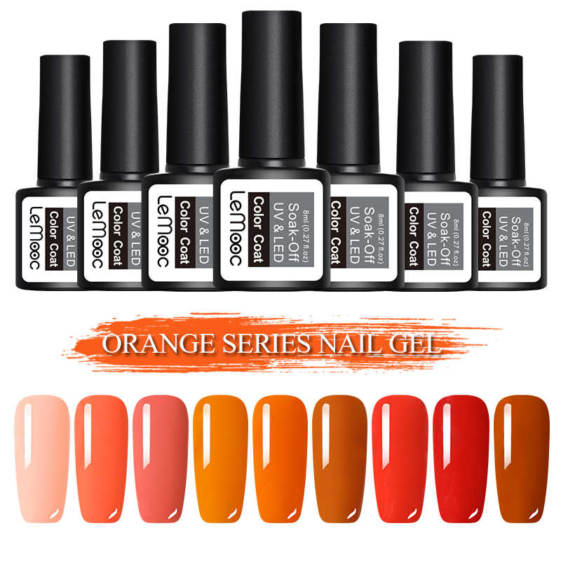 LEMOOC Color naranja serie Gel barniz 8ML Nail Art UV LED semipermanente Soak-Off Nail Gel polaco manicura accesorios herramientas