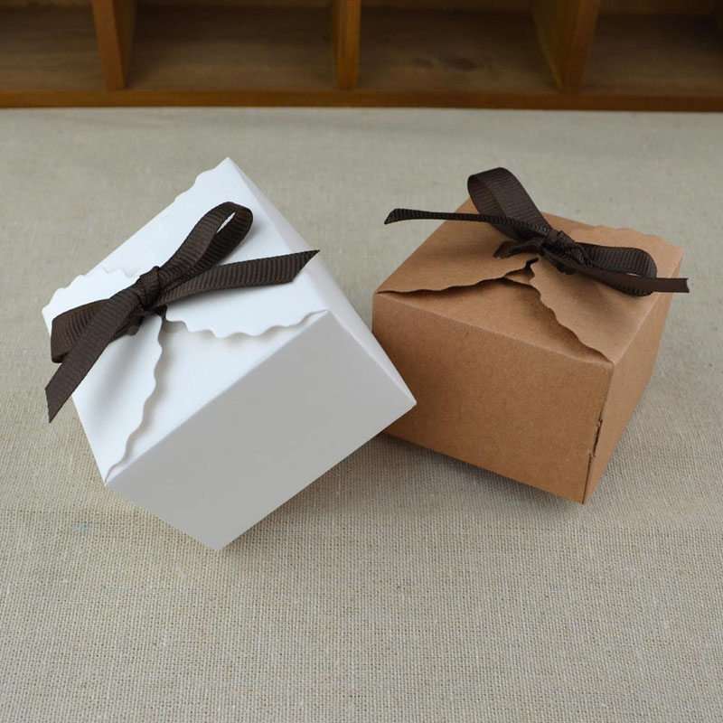 10pcs Vintage Retro White/Kraft Mini Kraft Paper Box, DIY Wedding Favor Gift Box, Small Single Cake Box Packaging With Ribbon
