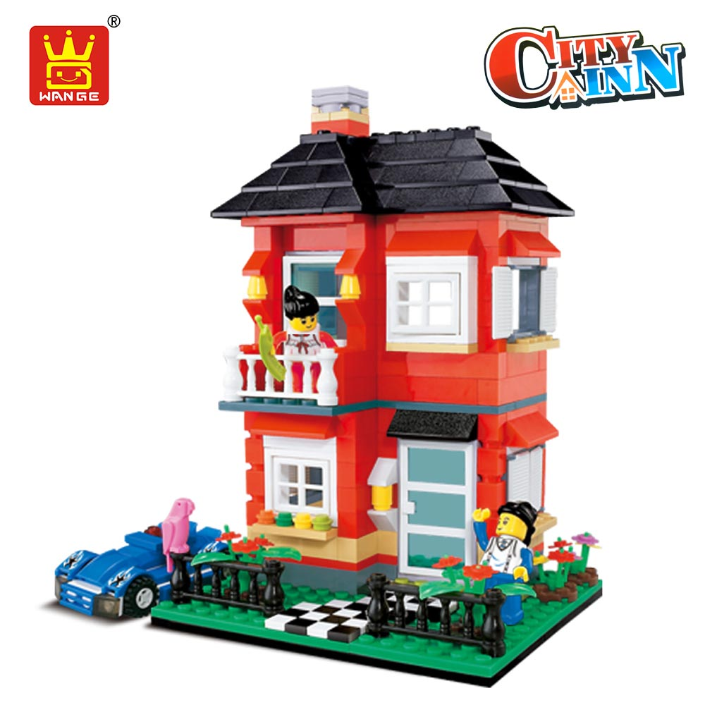 WANGE Architecture Block City Inn Villa Building Blocks Compatible with Plastic Assembly Toys for Children Gift Educational Car gudi block city large passenger plane airplane block assembly compatible all brand building blocks educational toys for children
