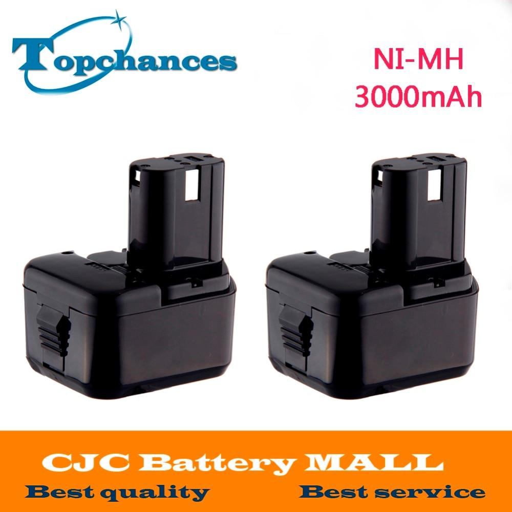 2PCS 12V 3000mAh Battery for Hitachi EB1214S EB1220BL EB1220HL EB1220HS DH15DV DN12DY DN12DYK DN12Y DW18D аккумулятор для hitachi bcc1215 eb1214l eb1214s eb1220bl eb1224 2000mah cameronsino