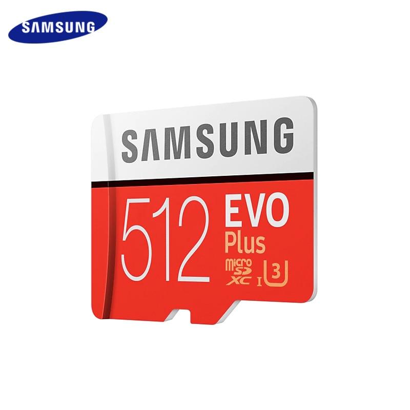 100% carte mémoire Samsung originale 512GB classe 10 haute vitesse 100 mo/s U3 UHS-I EVO PLUS carte Micro SD U1 SDXC TF carte Microsd