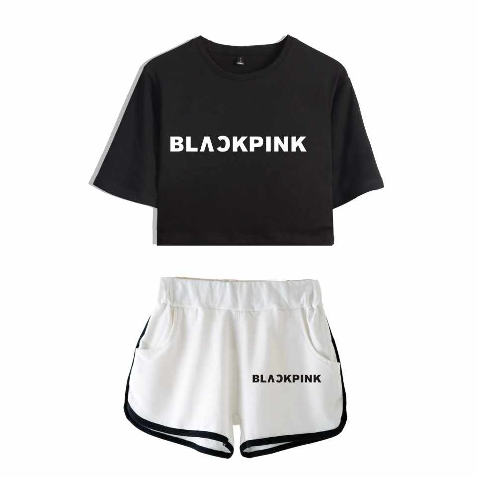 Kpop BLACKPINK Two Piece Set Summer Sexy Cotton Printed T shirt Album Woman Suit Shorts Crop BLACKPINK Fashion Tops+Shorts New