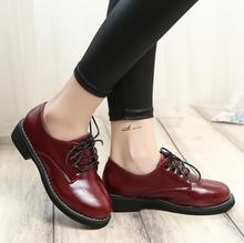 chaussure femme derbies Women brogues Leather Boots Martin Ankle Leather Oxford Shoes Thick Heel Platform Flat Women shoes