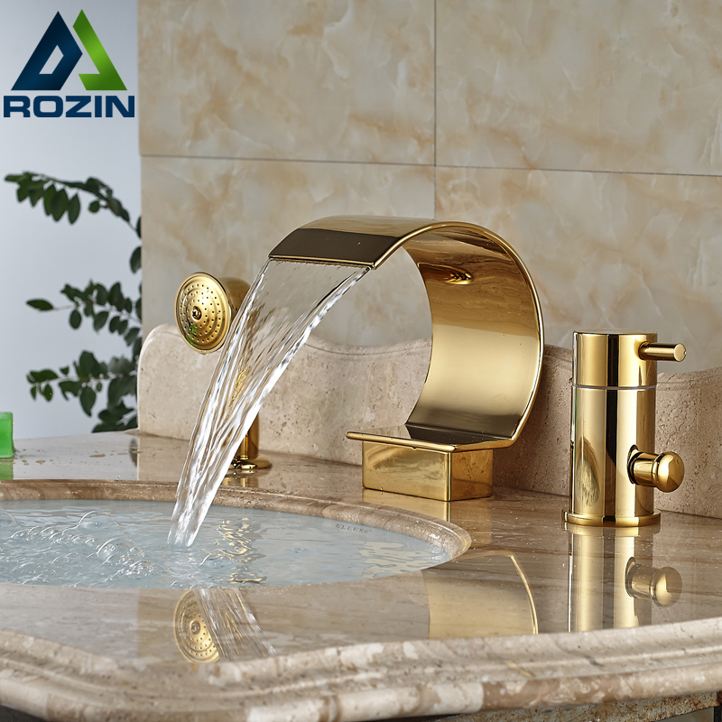 Brass Golden Deck Mount Bathtub Faucet Side Install Tub Filler