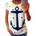 [MASCUBE] Carta de Impressão Âncora das Mulheres Fino de Algodão Casual Camisetas Tops Feminino Solto Tamanho Grande Manga Curta T-shirt Das Mulheres