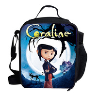 2019 Newest Cartoon Coraline printing Thermal Insulated Lunch Bag for Girls Kids Picnic Shoulder Bags For Snacks Students