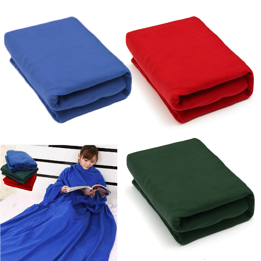 Home Winter Warm Cosy Thick Plush Snuggle Fleece Blanket With Sleeves