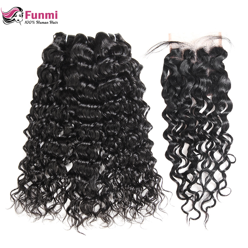 Funmi Water Wave Bundles With Closure 3Pcs Peruvian Hair Bundles With Closure 100% Virgin Hair Bundles With Closure 4X4 Inch
